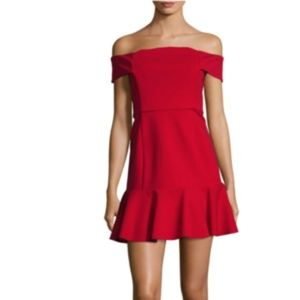 NICHOLAS Knit Off the Shoulder Red Mini Dress NWT